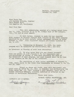 DORIS DAY - CONTRACT SIGNED 10/22/1952