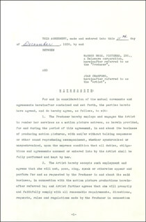JOAN CRAWFORD - CONTRACT SIGNED 12/11/1950