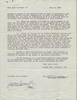 JOAN CRAWFORD - CONTRACT SIGNED 07/21/1943