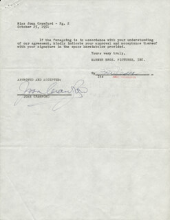 JOAN CRAWFORD - CONTRACT SIGNED 10/25/1951