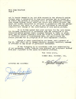 JOAN CRAWFORD - DOCUMENT SIGNED 03/03/1950