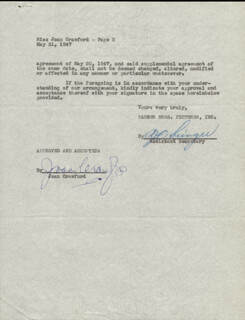 JOAN CRAWFORD - CONTRACT SIGNED 05/31/1947