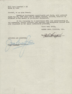 JOAN CRAWFORD - CONTRACT SIGNED 03/03/1948