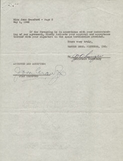 JOAN CRAWFORD - CONTRACT SIGNED 05/01/1946