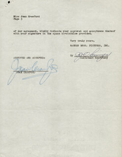 JOAN CRAWFORD - CONTRACT SIGNED 08/16/1950