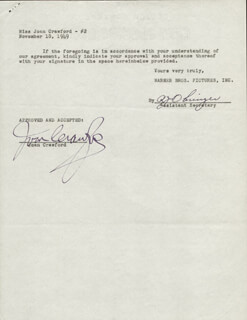 JOAN CRAWFORD - CONTRACT SIGNED 11/18/1949