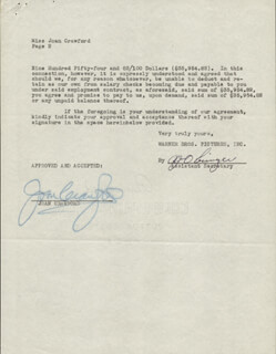 JOAN CRAWFORD - CONTRACT SIGNED 12/15/1948