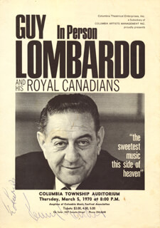 Autographs: GUY LOMBARDO ORCHESTRA (GUY A. LOMBARDO) - INSCRIBED PROGRAM SIGNED CIRCA 1970 CO-SIGNED BY: GUY LOMBARDO ORCHESTRA (KENNY GARDNER)