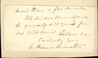 Autographs: W. HARRISON AINSWORTH - AUTOGRAPH LETTER FRAGMENT SIGNED