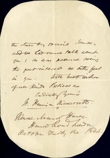 W. HARRISON AINSWORTH - AUTOGRAPH LETTER FRAGMENT SIGNED 10/31/1844