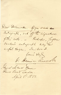 Autographs: W. HARRISON AINSWORTH - AUTOGRAPH LETTER SIGNED 04/08/1853