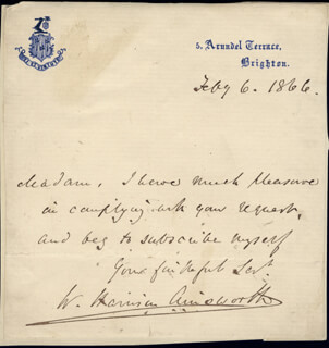 Autographs: W. HARRISON AINSWORTH - AUTOGRAPH LETTER SIGNED 02/06/1866