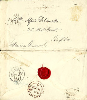 Autographs: W. HARRISON AINSWORTH - AUTOGRAPH ENVELOPE SIGNED 04/08/1853
