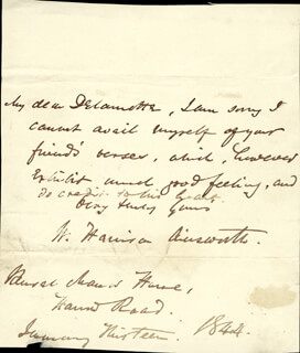 Autographs: W. HARRISON AINSWORTH - AUTOGRAPH LETTER SIGNED 01/19/1844