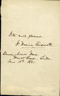 Autographs: W. HARRISON AINSWORTH - AUTOGRAPH SENTIMENT SIGNED 06/10/1841