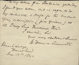 Autographs: W. HARRISON AINSWORTH - AUTOGRAPH LETTER FRAGMENT SIGNED 06/17/1840