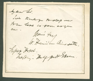Autographs: W. HARRISON AINSWORTH - AUTOGRAPH NOTE SIGNED