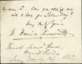 Autographs: W. HARRISON AINSWORTH - AUTOGRAPH LETTER SIGNED 05/21/1845