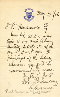 ALEXANDER ANDERSON - AUTOGRAPH LETTER SIGNED 05/19/1906