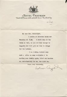 SIR NORMAN ANGELL - TYPED LETTER SIGNED 2/10