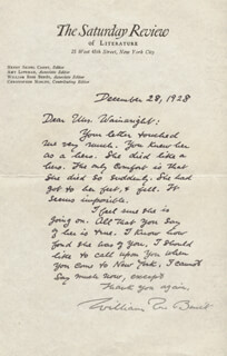 WILLIAM ROSE BENET - AUTOGRAPH LETTER SIGNED 12/28/1928