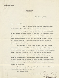 Autographs: VICE ADMIRAL GEOFFREY BLAKE - TYPED LETTER SIGNED 10/27/1920
