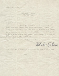 PADRAIC COLUM - TYPED LETTER SIGNED 11/02/1945