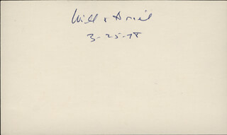 WILL DURANT - AUTOGRAPH 03/25/1978 CO-SIGNED BY: ARIEL DURANT