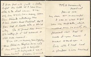 STEPHEN LEACOCK - AUTOGRAPH LETTER SIGNED 11/15/1926