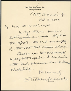 STEPHEN LEACOCK - AUTOGRAPH LETTER SIGNED 10/02/1926