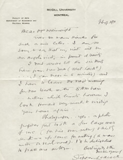 STEPHEN LEACOCK - AUTOGRAPH LETTER SIGNED 02/09/1931