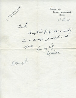 WILLIAM JOHN LOCKE - AUTOGRAPH LETTER SIGNED 03/01/1915
