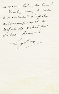 Autographs: ROBERT (EARL OF LYTTON I) BULWER-LYTTON - AUTOGRAPH LETTER SIGNED 12/26/1874