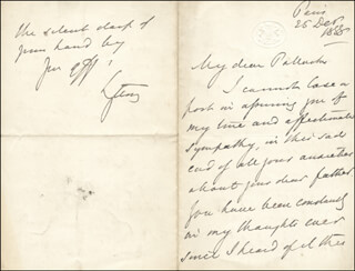 Autographs: ROBERT (EARL OF LYTTON I) BULWER-LYTTON - AUTOGRAPH LETTER SIGNED 12/25/1888