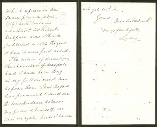 ROBERT (EARL OF LYTTON I) BULWER-LYTTON - AUTOGRAPH LETTER SIGNED 07/18/1874