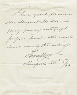 SAMUEL LOVER - AUTOGRAPH NOTE SIGNED 11/06/1844