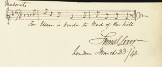 SAMUEL LOVER - AUTOGRAPH MUSICAL QUOTATION SIGNED 03/23/1840