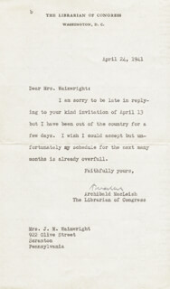 ARCHIBALD MacLEISH - TYPED LETTER SIGNED 04/24/1941