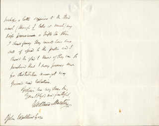 WESTLAND (JOHN) MARSTON - AUTOGRAPH LETTER SIGNED 09/21/1862