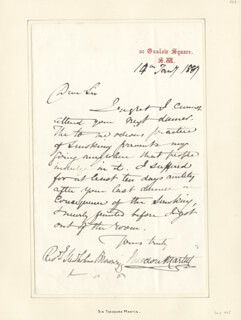 SIR THEODORE MARTIN - AUTOGRAPH LETTER SIGNED 01/14/1887