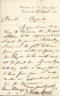 SIR THEODORE MARTIN - AUTOGRAPH LETTER SIGNED 12/22/1851