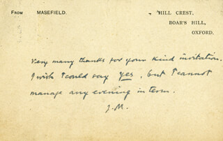 JOHN MASEFIELD - AUTOGRAPH NOTE SIGNED