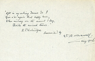 Autographs: WILLIAM B. MAXWELL - AUTOGRAPH POEM SIGNED 5/1906