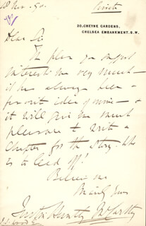 JUSTIN McCARTHY - AUTOGRAPH LETTER SIGNED 11/18/1890