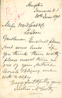 JUSTIN McCARTHY - AUTOGRAPH LETTER SIGNED 06/30/1898
