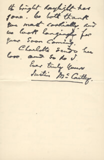 JUSTIN McCARTHY - AUTOGRAPH LETTER SIGNED 08/24/1901