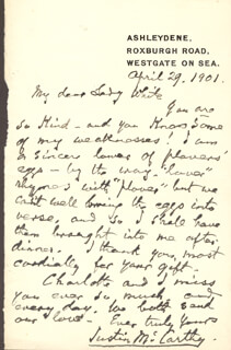 JUSTIN McCARTHY - AUTOGRAPH LETTER SIGNED 04/29/1901