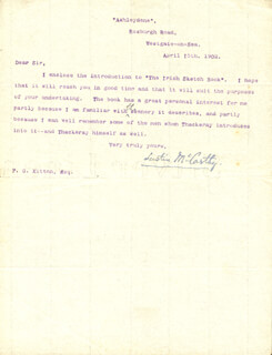 JUSTIN McCARTHY - TYPED LETTER SIGNED 04/15/1902