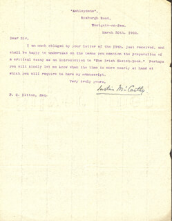 JUSTIN McCARTHY - TYPED LETTER SIGNED 03/20/1902