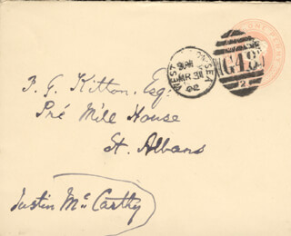 JUSTIN McCARTHY - AUTOGRAPH ENVELOPE SIGNED CIRCA 1902